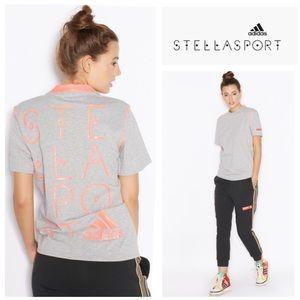 Adidas StellaSport Climalite logo tee *grey/coral*